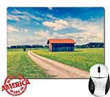 "Luxlady Natural Rubber Mouse Pad/Mat with Stitched Edges 9.8"" x 7.9"" IMAGE ID 31068708 Vintage retro effect filtered hipster style image of rural road in summer meadow with wooden shed Bavaria Germany"