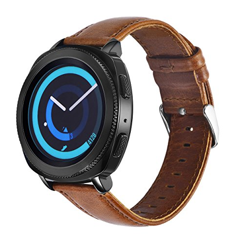 KADES Gear Sport Band Leather, Genuine Leather Replacement Strap Compatible for Samsung Galaxy Watch 42mm/ Garmin VivoActive 3/ Ticwatch 2/ Ticwatch E/Amazfit Bip Smart Watch- Brown