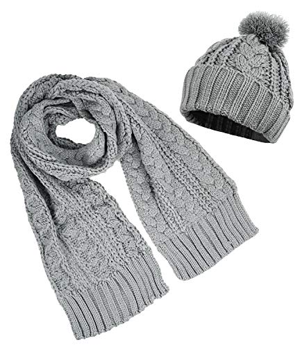 Women's Winter Thick Warm Knitting Scarf and Hat Set Skullcaps, Gray - Easy Cable Scarf