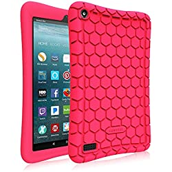 Fintie Silicone Case for All-New Amazon Fire 7 Tablet (7th Generation, 2017 Release) - [Honey Comb Upgraded Version] [Kids Friendly] Light Weight [Anti Slip] Shock Proof Protective Cover, Magenta