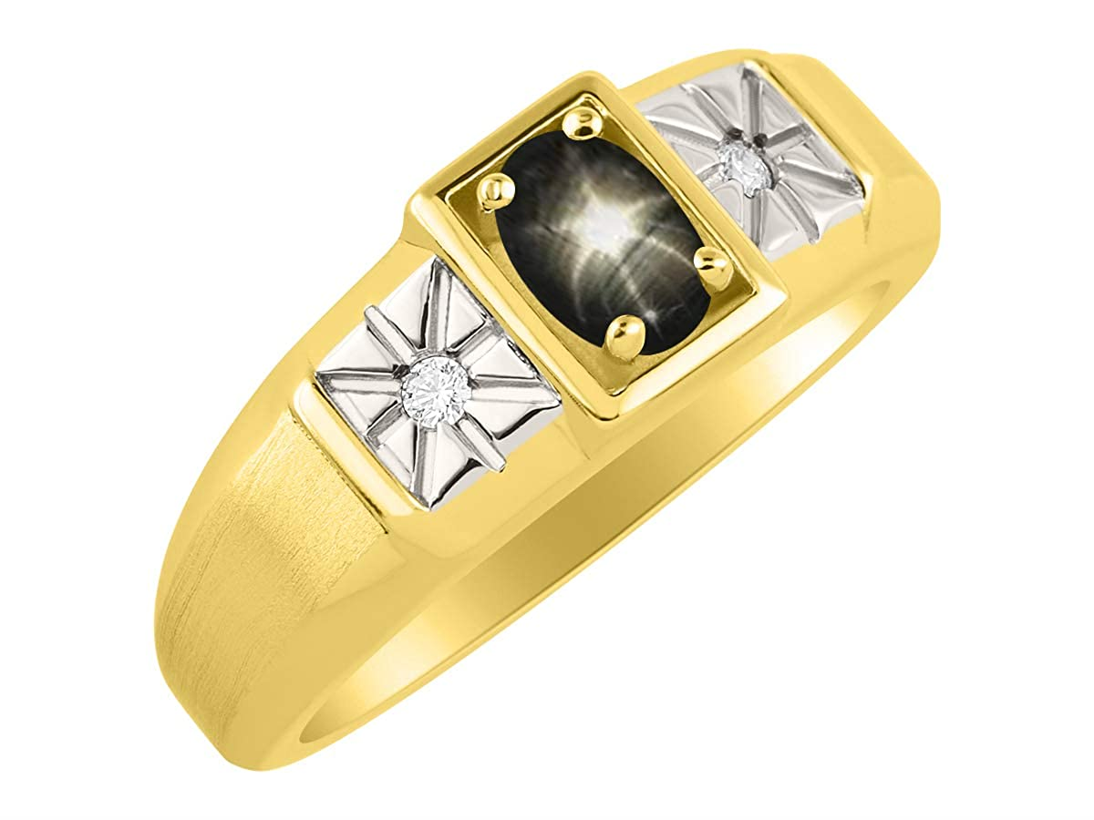 RYLOS Mens Ring with Oval Shape Gemstone /& Genuine Sparkling Diamonds in 14K Yellow Gold Plated Silver .925-6X4MM Color Stone Birthstone Rings