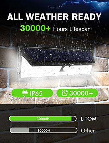 LITOM Enhanced 102 LED Super Bright Solar Lights Outdoor, Solar Motion Sensor Lights with 270°Wide Angle, IP65 Waterproof, Easy-to-install Security Lights for Front Door, Yard, Garage, Deck(2 Pack) by Litom (Image #4)