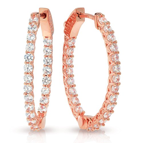 Glamouresq 14k Rose Gold Finish Cubic Zirconia CZ Round & Oval Hoop (Estate Rose Gold Earrings)