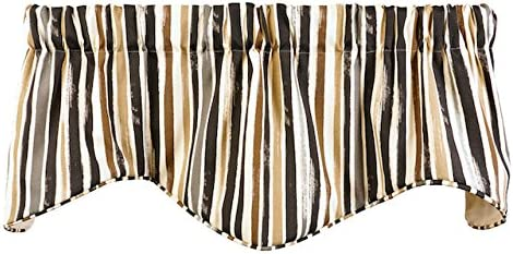 Decorative Things Kitchen Valances for Windows or Valances for Living Room Valance Curtains Window Treatments Tommy Bahama Grey, Brown, Black and White Stripe