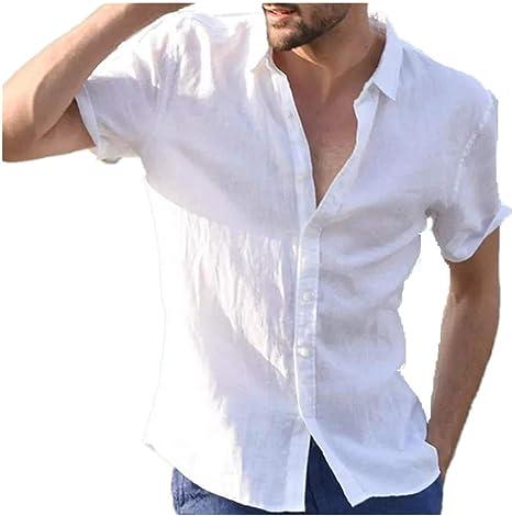 Verano Casual Color SóLido Solapa SeccióN Delgada Camisa De Hombre Top De Manga Corta: Amazon.es: Ropa y accesorios