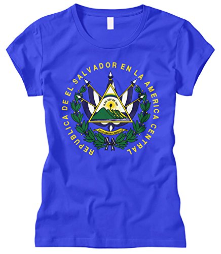 Cybertela Women's EL Salvador Coat Of Arms Fitted T-Shirt (Royal Blue, Small)