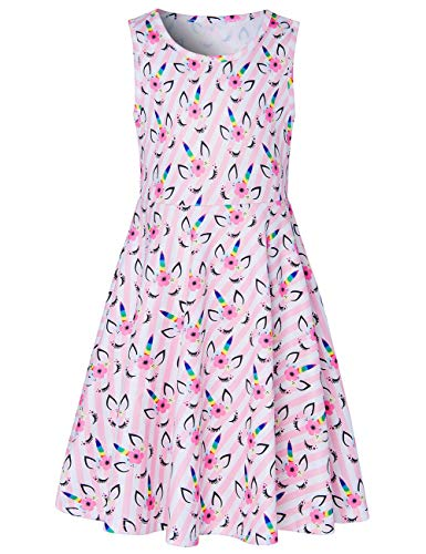 Girls Sleeveless Dress 3D Print Cute Rainbow Unicorn Shy Cat Flower Pattern Pink and White Striped Summer Dress Casual Swing Theme Birthday Party Sundress Toddler Kids Twirly - Dress Summer Twirl