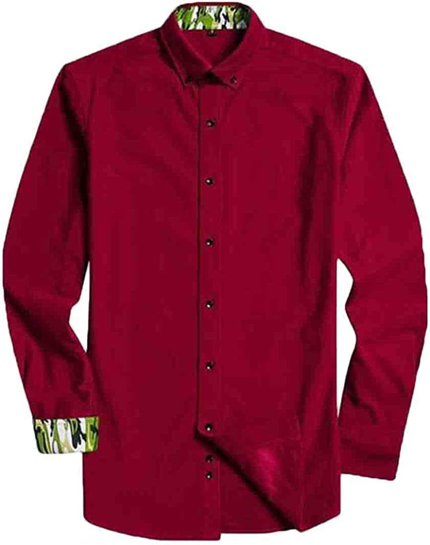 X-Future Mens Casual Button Down Long Sleeve Polyester Regular Fit Corduroy Shirt