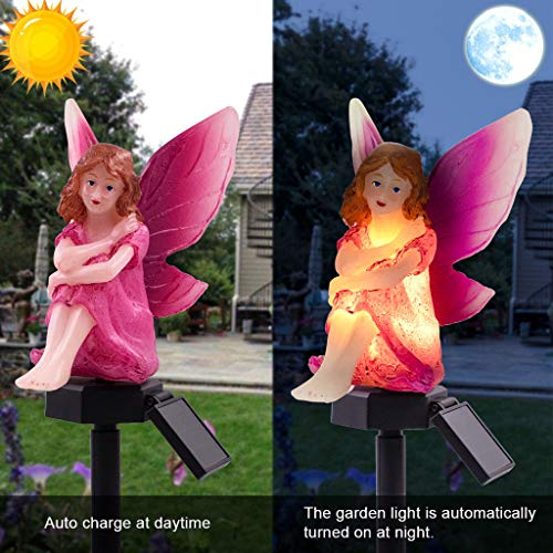 Matoen Solar Power LED Lawn Lamp Garden Lights Cartoon Doll Flower Fairy Waterproof Spotlight Dancing Flame Outdoor Landscape Villa Decoration Lighting (A)