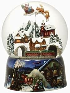 """8"""" Glitter Dome Musical Rotating Victorian Village with Santa Claus Snow Globes Music Box By Roman Inc Christmas Holiday Home Decor Gifts"""