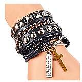 Y-blue Street Rock Punk Leather Multilayer Bracelet 8 Color