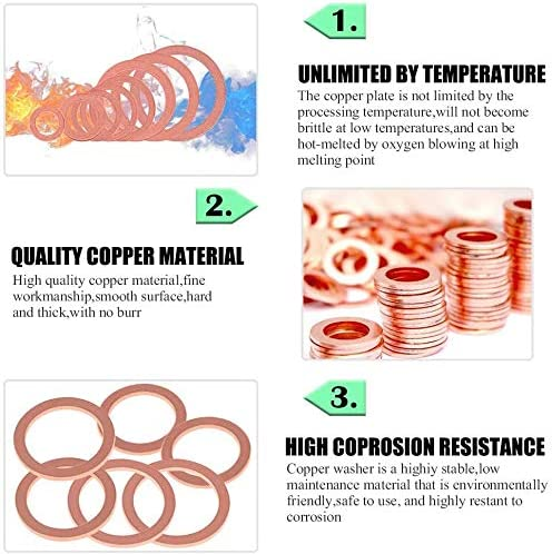 M5 M6 M6 M8 M8 M10 M12 M12 M14 200 Pcs Copper Washers 9 Sizes O Ring Copper Gaskets Set Flat Ring Seal Kit for Screws Bolts Fasteners