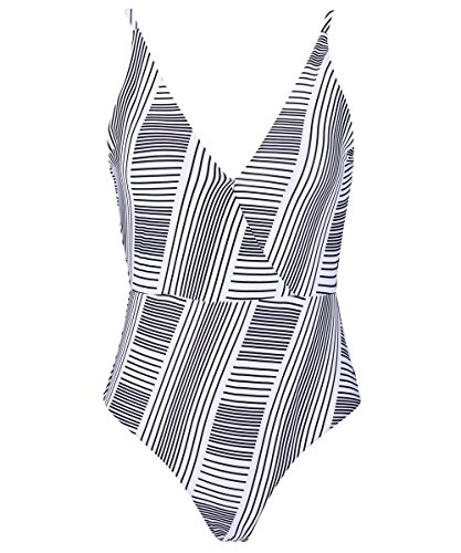 DD&MM Striped Plunge One Piece Swimsuit For Women, Elegant Modern Padded Backless Swimwear, S