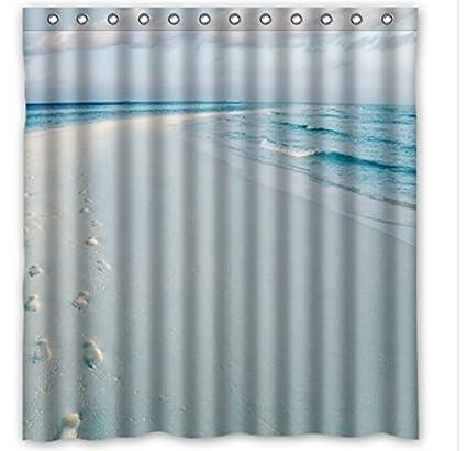 Waterproof Shower Curtain Jumbo Ocean Blue Series Modern Creative With