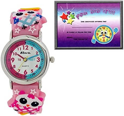 Ravel Time Teacher 3D Owl Pink Rubber Strap Watch + Telling Time Award R1513.74
