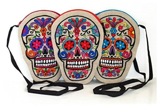 Indigo Desert Ranch - Day of the Dead Embroidered on Linen Sugar Skull Purse - Assorted Colors Sold Individually