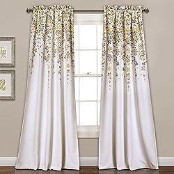 "Lush Decor 16T000558 Weeping Flowers Room Darkening Window Panel Curtain Set, Yellow/Gray, 84"" x 52""/2"""