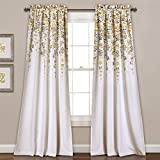 Lush Decor 16T000558 Weeping Flowers Room Darkening Window Panel Curtain Set Yellow Gray