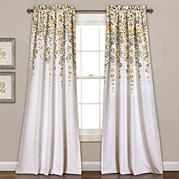 Lush Decor 16T000558 Weeping Flowers Room Darkening Window Panel Curtain  Set, 84 Inch X 52