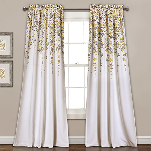 "Lush Decor Weeping Flowers Room Darkening Window Panel Curtain Set (Pair), 84"" x 52"", Yellow and Gray -"