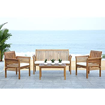 Safavieh Outdoor Living Collection Carson 4 Piece Outdoor Living Set, Teak  Brown