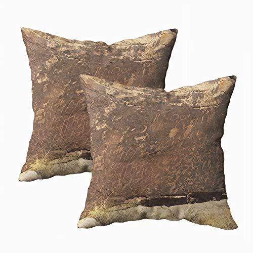 TOMWISH Cusion Pillow Cover, 2 Packs Hidden Zippered 18X18Inch Carved in Rocks by The Native American Tribes Navajo Hopi Decorative Throw Cotton Pillow Case Cushion Cover for Home Decor