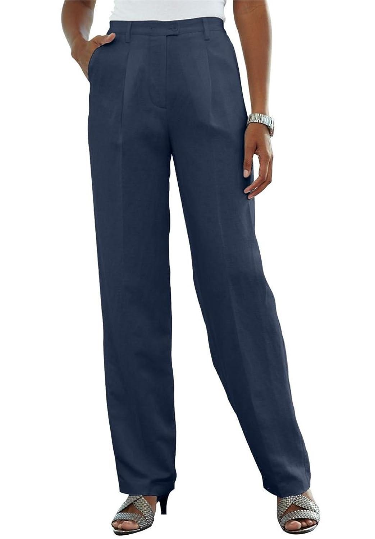 Jessica London Women's Plus Size Petite Classic Linen Blend Pants