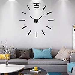 Vangold Modern DIY Wall Clock Large Frameless 3D Wall Clock Mirror Stickers Silent Home Living Room Office Decor (2-Year Warranty)