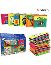 Coolplay Baby's First Non-Toxic Soft Cloth Book Set - Squeak, Rattle, Crinkle,Colorful - Pack of 6
