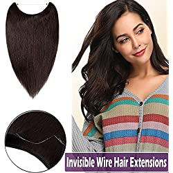 """16""""-22"""" Human Hair Hidden Wire Extensions Secret Fish Line Hair Extensions Long Straight No Clips No Glue Hairpieces Invisible Fish Line in 16"""" 60g #2 Dark Brown"""