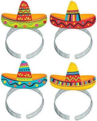 a0f8285ae Amazon.com: Fiesta Cinco De Mayo Plastic Sombrero Headbands, 8 Ct. | Party  Costume: Toys & Games