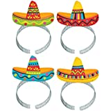 Cinco De Mayo Fiesta Party Colorful Sombrero Headbands Accessories, Paper, Pack of 8