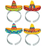 "Cinco De Mayo Fiesta Party Colorful Sombrero Headbands, 8 Pieces, Made from Plastic, Graduation/Commencement/Team Spirit,  8"" x 5 7/8"" x 1/2"" by Amscan"