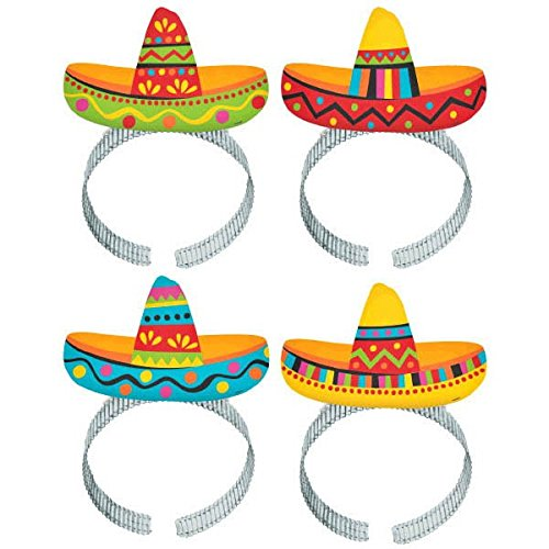 "Price comparison product image Cinco De Mayo Fiesta Party Colorful Sombrero Headbands, 8 Pieces, Made from Plastic, Graduation/Commencement/Team Spirit,  8"" x 5 7/8"" x 1/2"" by Amscan"