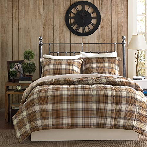 Woolrich Lumberjack Twin Size Bed Comforter Set - Brown, Khaki, Farmouse, Rustic Plaid - 2 Pieces Bedding Sets - Softspun Flannel Bedroom Comforters (Sets Brown Bedding Red And)