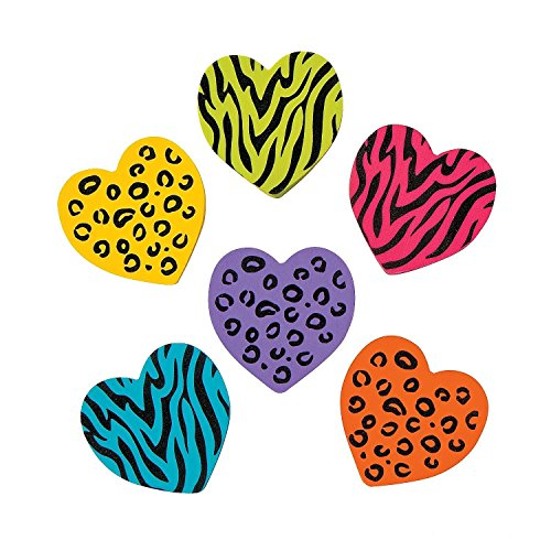 2 Dz Rubber Animal Print Heart Erasers (Heart Pencil)