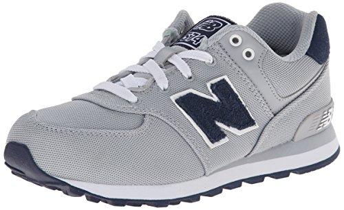 New Balance KL574 Pre Lace-Up Running Shoe,Grey/Black,1 W US Little Kid
