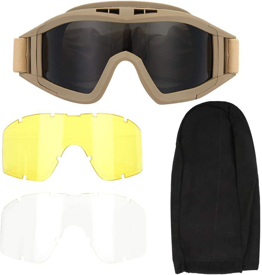 Tactics Goggles Antipolvo antiniebla Gafas Protectoras para los Ojos con Lentes Intercambiables Protectoras para el Ciclismo en Bicicleta Conducción del Paintball táctico Airsoft Ski