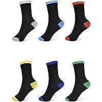 Thingimijigs 6 Pares de Calcetines Tobilleros Negros y Multicolores para Niños