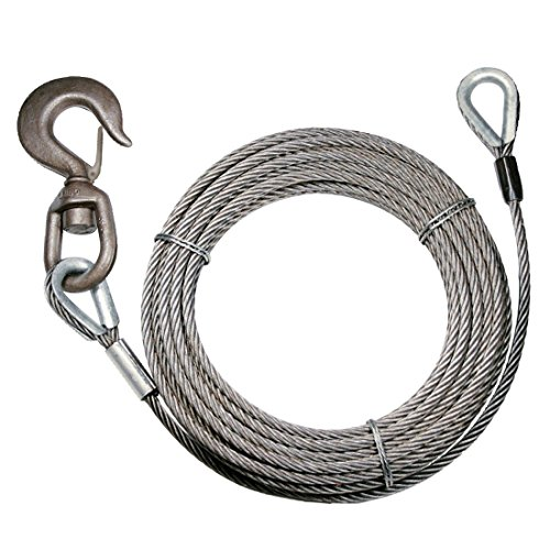 Vulcan Classic Fiber Core Extension Winch Cable With Swivel Hook And Eye - 13,950 lbs. Minimum Breaking Strength (3/8