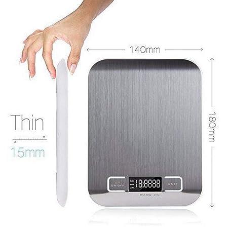 LOLIVEVE Escala De Cocina Digital De Acero Inoxidable Dieta De Alimentos Herramienta De Medida De La Cocina 10Kg X 1G Equilibrio De Peso Electrónico: ...