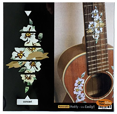 Hibiscus Decoration for Fretboard for CONCERT Ukulele Inlay Sticker Decals