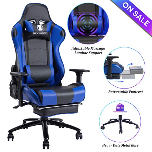 Blue Whale Massage Gaming Chair - Big and Tall 350lbs High Back Racing Computer Desk Office Chair Swivel Ergonomic Executive Leather Chair with Footrest and Adjustable Armrests (8280Blue) Zhuji Import & Export Trading Co., Ltd.