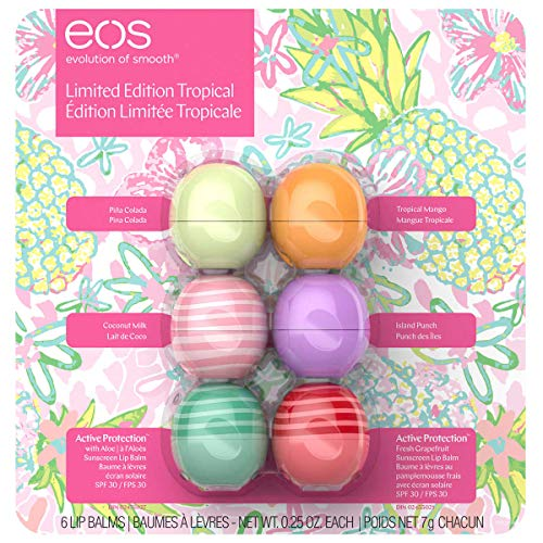 EOS 6 CT Variety Pack, Limited Edition Lip Balm Spheres, Variety Pack 6 Count - Pina Colada, Tropical Mango, Coconut Milk, Island Punch, Aloe (SPF 30) & Fresh Grapefruit (SPF 30) - Active Care
