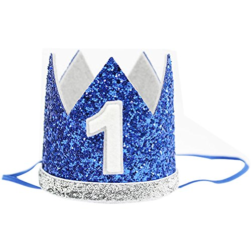 Baby Boy Birthday Crown Headband Prince Party Hat Hairband Photo Prop (Blue (Prince Outfit For Boy)
