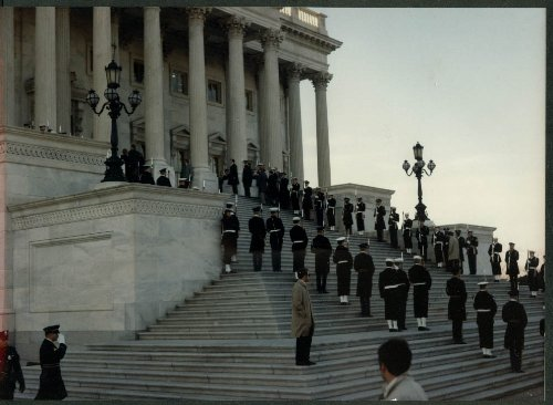 LBJ Funeral color 8x10 #7: Joint Services honor cordon & troops Capitol Plaza