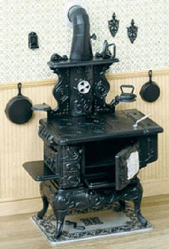 Miniature Cast Iron Stove (Dollhouse Miniature 1:12 Scale Cook Stove and Accessories Kit)