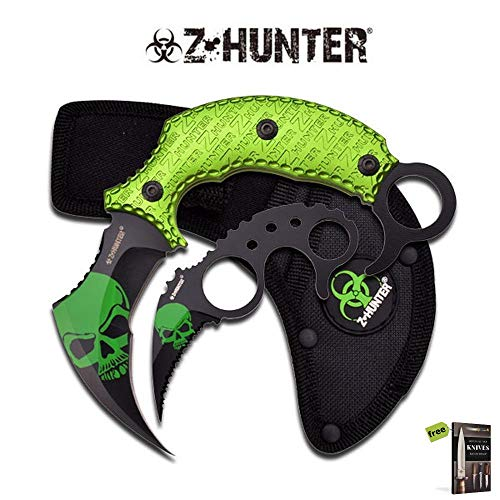 Z-Hunter Green Zombie Fighting Karambit Two Piece HUNTING Tactical Sharp Blade Military Knife Set Curved Blade + Free eBook by SURVIVAL STEEL