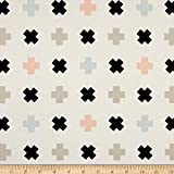 Art Gallery Fabrics Art Gallery Nest Jersey Knit Tic Tac Toe Fabric by the Yard, White