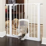 """North States MyPet 38"""" wide Petgate Passage: Secure gate with small lockable pet door. Pressure Mount. Fits 29.8"""" - 38"""" wide (30"""" tall)"""